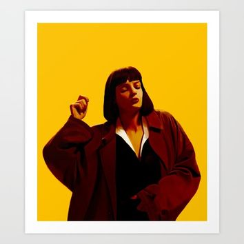 Mia Wallace - Yellow Art Print by ourbodiesbreak