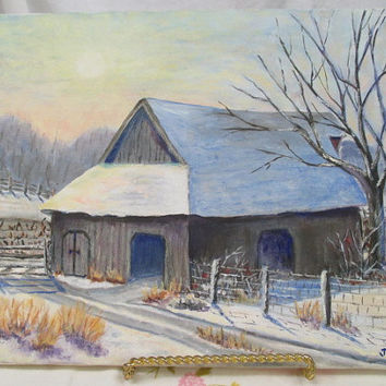 OOAK oil painting, barn in winter, vintage oil painting, June Walls 1986, blue white black, primitive barn design, country decor, americana