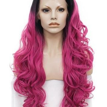 Charming Ombre Red Wave Long Synthetic Lace Front Wig