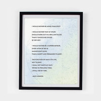 Typography Print - Jack London Poetry Print - Men's Art - Star Map Quote Print - Wall Decor