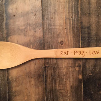 Custom Engraved Wood Utensil:  Spatula, Spoon, Fork- Housewarming Gift, Christmas Gift