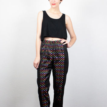 34f1e6a6db1 Vintage 90s Pants High Waisted Pants Rainbow Black Check Plaid Print  Brocade Pants 1990s Slacks Skinny