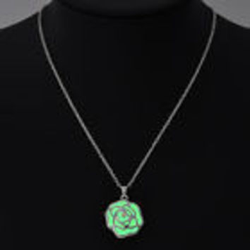 Green glow in the dark rose flower pendant necklace, key ring, or rear view mirror hanger