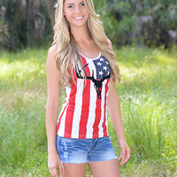 American bombshell american flag tank top red white and blue country girl clothing