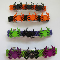 Halloween Barrettes, Orange, Black, Green, Purple Barrettes