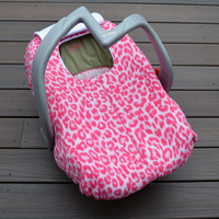 Pink Leopard Baby Car Seat Cover by Sophie Marie