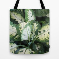 Painted Green Foliage  Tote Bag by KCavender Designs