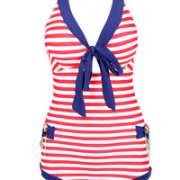 Blue and Red Striped Halterneck Swimsuit