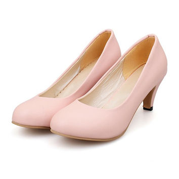 Plain Low-cut Thin Shoes Round Middle Heel Work Plus Size  pink