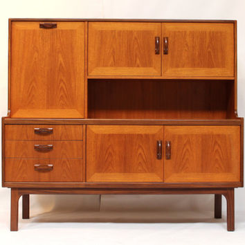 Mid Century Teak Side Board Buffet Wall Unit