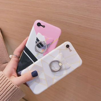 New Cute Hipster Stylish Geometric Case For iPhone 6 6S Plus with Cat Ring Holder Phone Cases for iPhone 7 7plus TPU Shell Soft
