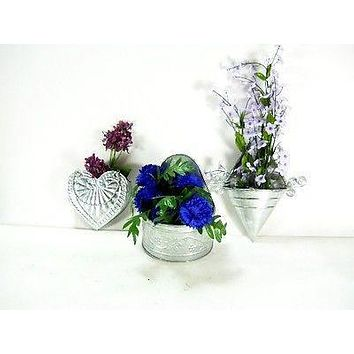 3pc Set Decorative Galvanized Wall Planters flowers garden plant home decor
