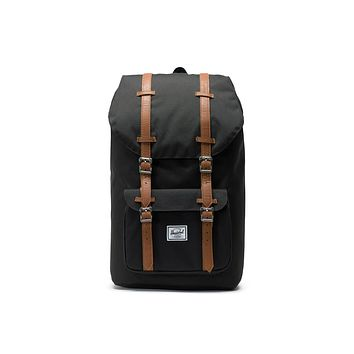 Herschel Supply Co. - Little America Black Tan Synthetic Leather Backpack
