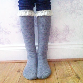 Child's Grey Boot Socks, Crochet Lace Socks, Lace Boot Socks, Leg Warmers, Winter Wear, Fashion Accessory, Fashion Socks. Wool Stockings.