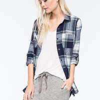 Full Tilt Large Plaid Womens Boyfriend Flannel Shirt Navy  In Sizes