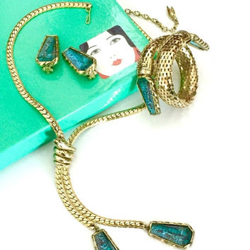 Whiting & Davis Egyptian Revival Parure, Necklace Earring and Bracelet, Faux Turquoise, Gold Tone Metal