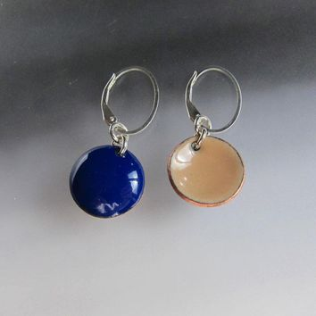 Reversible Blue and Tan Enamel Disc Earrings on Sterling Silver Oval Leverback Wires