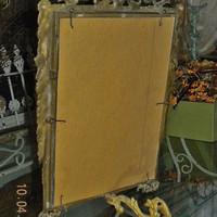 French Mirror* Circa 1920s* French* Barbola* French Swag* Brass Mirror* Architectural* Boudoir