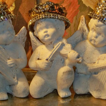 Cherub statue trio with hand made crowns French inspired hand painted distressed white angel set anita spero