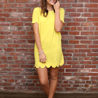 Yellow Scalloped Hem Dress