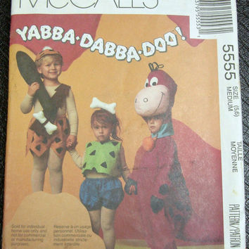 Flintstones Costume Sewing Pattern Uncut Mccalls 5555 Pebbles BamBam Dino Child Sz 5-6
