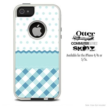 The Light Colored Blue Plaid & Polka Skin For The iPhone 4-4s or 5-5s Otterbox Commuter Case