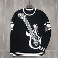 Dolce & Gabbana Woman Men Fashion Guitars Print Long Sleeve T-Shirt Top Blouse Sweater I-A-XYCL