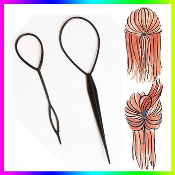 VONC1Y Hot Sale Chic Magic Topsy Tail Hair Braid Ponytail Styling Maker Clip Tool Black 2pcs Drop Shipping
