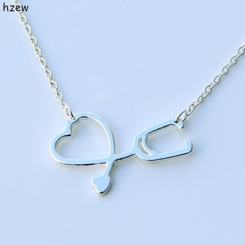 hzew hot sale Stethoscope Necklace for Nurse Doctor Gift Medical Jewelry I Love You Heart Pendant Necklace
