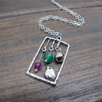 Antique silver birdcage necklace,bird cage,small bell,green and rose red agate beads, fairy tale jewelry,unique gift