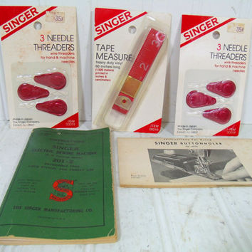 Vintage Singer Sewing Collection of Notions and Booklets - Singer Sewing Tape Measure, Needle Threaders & Electric Sewing Machine Booklets