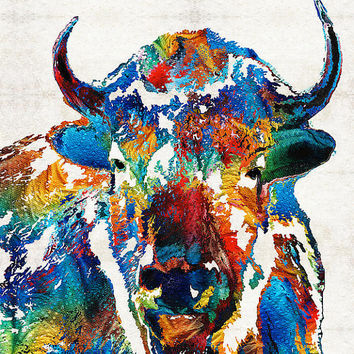 Buffalo Art Print from Painting Colorful Bison Animal Country Primary Colors Rustic Abstract CANVAS Native American Indian Large Big Western