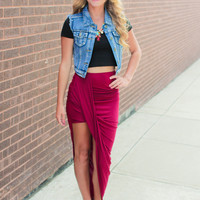 All Tied Up Skirt - Burgundy