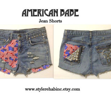 American Babe Jean Shorts. One of a Kind. Hipster, Rock, Grunge, Festival, Coachella. Ready 2 Ship.  Flags. July 4th independence day