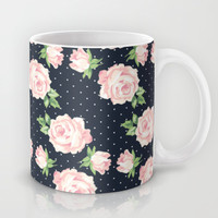 Blue and Pink Vintage Rose Pattern Mug by heartlocked