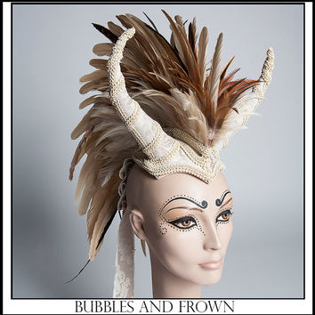 In Horns We Dust…Earthy Feather Mohawk with Horns