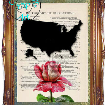 United States Map & National Flower Red Rose Art - 2 Print Special - Vintage Dictionary Page Art Print Upcycled Page Print