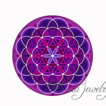 Green purple blue Flower Of Life necklace Om flower pendant necklace mandala jewelry Yoga necklaces Zen jewelry choker necklace 7