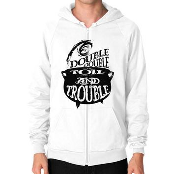 DOUBLE AND TROUBLE Zip Hoodie (on man)