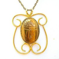 Vintage Tigers Eye Scarb Pendant Necklace 12K GF