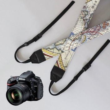 Camera Strap - World Map,unique dslr camera strap,SLR Digital Camera strap,personalized camera strap,nikon,canon camera strap,Christmas Gift