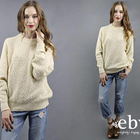 Cable Knit Sweater Fisherman Sweater Cream Sweater Cable Knit Jumper Cream Jumper Cream Pullover Wool Sweater Wool Jumper 90s Sweater S M L