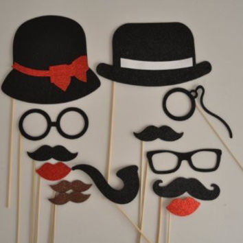 13 Pc Photo Booth Party Props Mustache on a Stick Bowler Hat Ladies Hat Mustaches Glasses so Cute Material Glitter Foamy