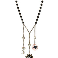 WONDERLAND THREES A CHARM NECKLACE BLACK