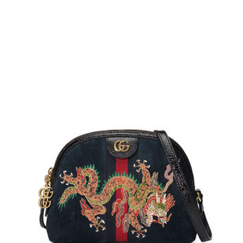Gucci Linea Dragoni Small Embroidered Suede Shoulder Bag