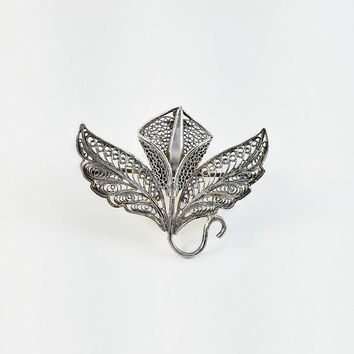 Vintage Flower Brooch - Sterling Calla Lily Brooch - Sterling Orchid Brooch - Open Work Flower Brooch - Filigree Brooch