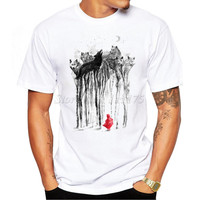 2017 New Fashion Ink Painting Wolf Forest Printed Men's T Shirt Cool Tops High Quality Casual Tee