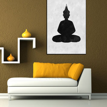 Black And White Wall Art Extra Large Buddha Painting On Canvas