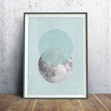 Moon Art, Full Moon Wall Art, Moon Print, Cosmos Art, Scandinavian Print, Night Sky Art, Scandinavian Modern Art, Blue Moon Printable