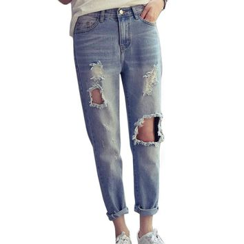 Destroyed Ripped Jeans For Women New Spring 2017 Fashion High Waist Distressed Boyfriend Jeans Trousers For Women Jeans Femme